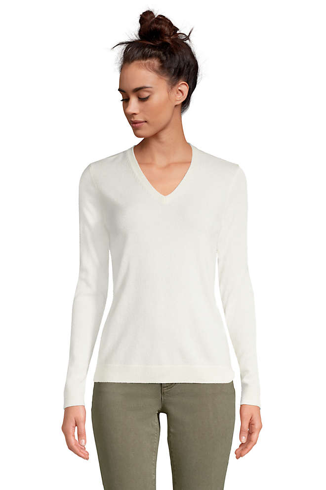 Women's Cashmere V-neck Sweater, Front