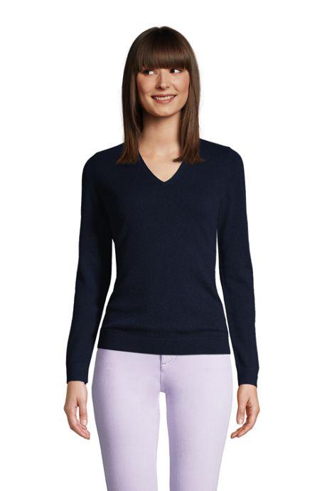 Women's Petite Cashmere V-neck Sweater