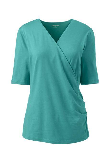 Women's Plus Size Elbow Sleeve Wrap Front Top