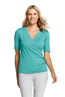 Women's Cotton/Model Elbow Sleeve Wrap Front Top