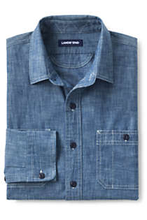 Men's Tall Traditional Fit Chambray Work Shirt, alternative image