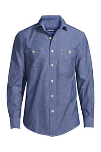 Men's Tall Traditional Fit Chambray Work Shirt, Front