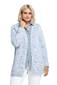 Women's Plus Size Cotton Blend Open Long Cardigan Sweater