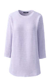 Women's Plus Size Linen Cotton 3/4 Sleeve Crewneck Tunic Sweater