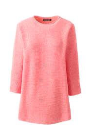 Women's Plus Size Linen Cotton 3/4 Sleeve Crewneck Tunic Sweater