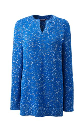 Women's Cotton Blend Notch Neck Tunic Sweater