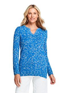 Women's Cotton Blend Space-dye Notch Neck Tunic