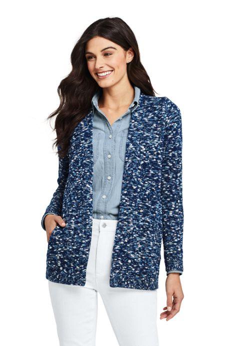 Women's Petite Cotton Blend Open Long Cardigan Sweater