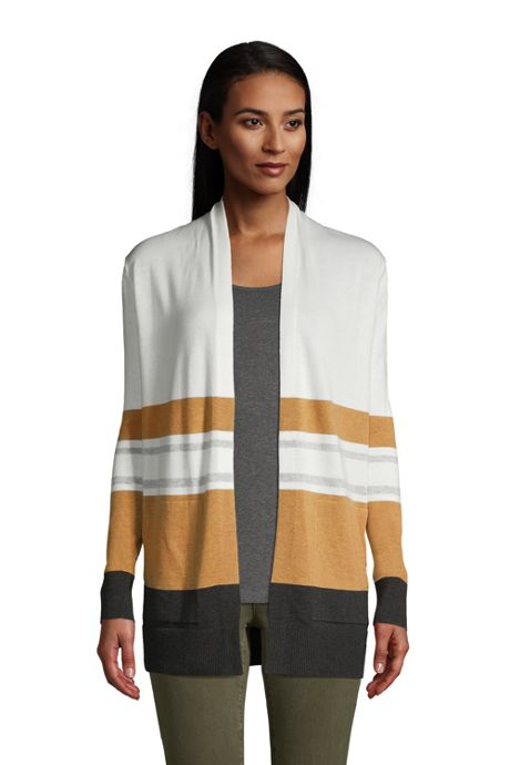 Women's Tall Cotton Open Long Cardigan Sweater - Stripe