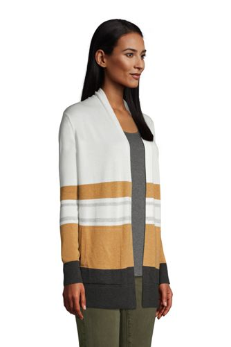 Women's Petite Cotton Open Long Cardigan Sweater - Stripe