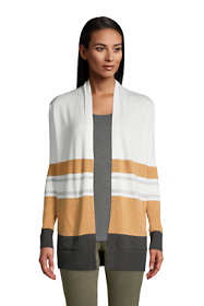 Women's Petite Cotton Open Long Cardigan Sweater - Stripe