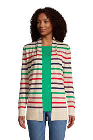 Women's Cotton Open Long Cardigan Sweater - Stripe