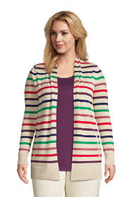 Women's Plus Size Cotton Open Long Cardigan Sweater - Stripe
