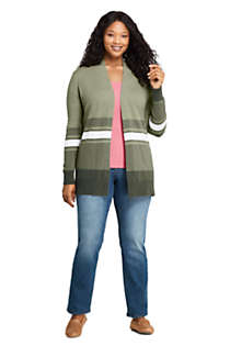 Women's Plus Size Cotton Open Long Cardigan Sweater - Stripe, alternative image