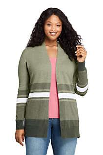 Women's Plus Size Cotton Open Long Cardigan Sweater - Stripe, Front