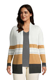 Women's Plus Size Cotton Open Long Cardigan Sweater - Stripe