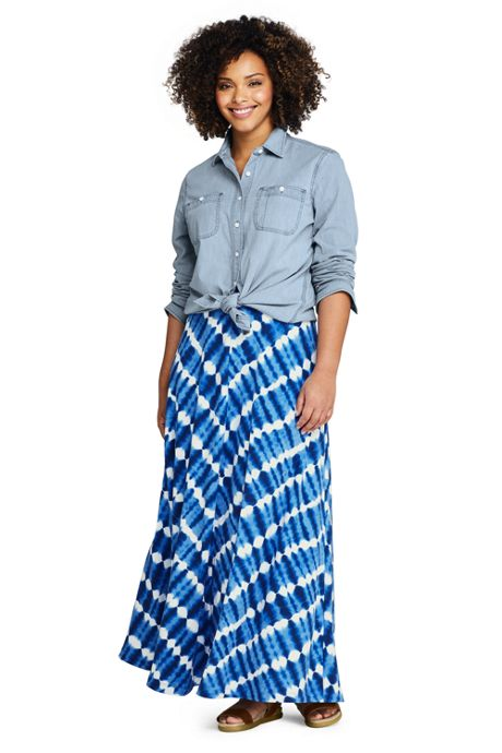 Women's Plus Size Stripe Maxi Skirt