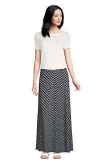 Women's Cotton-modal Jersey Maxi Skirt in Stripe