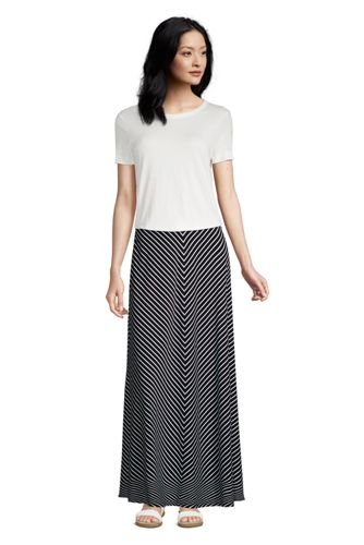 Women's Plus Cotton-modal Jersey Maxi Skirt in Stripe