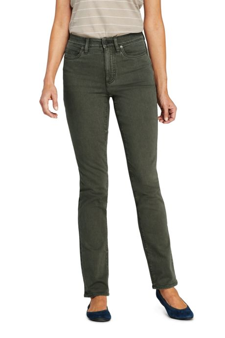 Women's Petite High Rise Compression Straight Leg Colorful Jeans