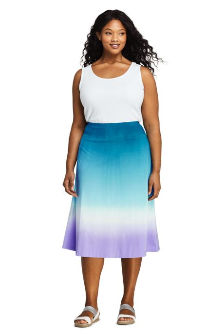 Women's Plus Size Print Knit Midi Skirt