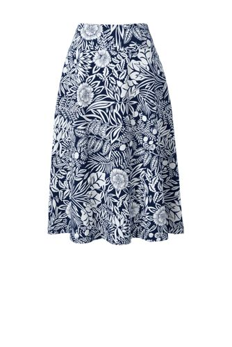 Women's Petite Print Cotton-modal Jersey Midi Skirt