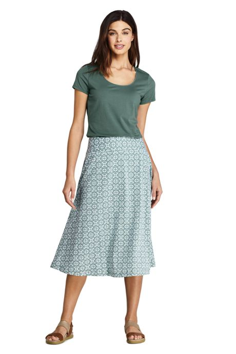 Women's Petite Print Knit Midi Skirt