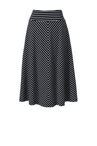 Women's Petite Stripe Cotton-modal Jersey Midi Skirt