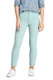 Women's High Waisted Garment-dyed Slim Straight Ankle Length Jeans