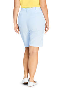 "Women's Plus Size Mid Rise 12"" Chino Seersucker Shorts, Back"