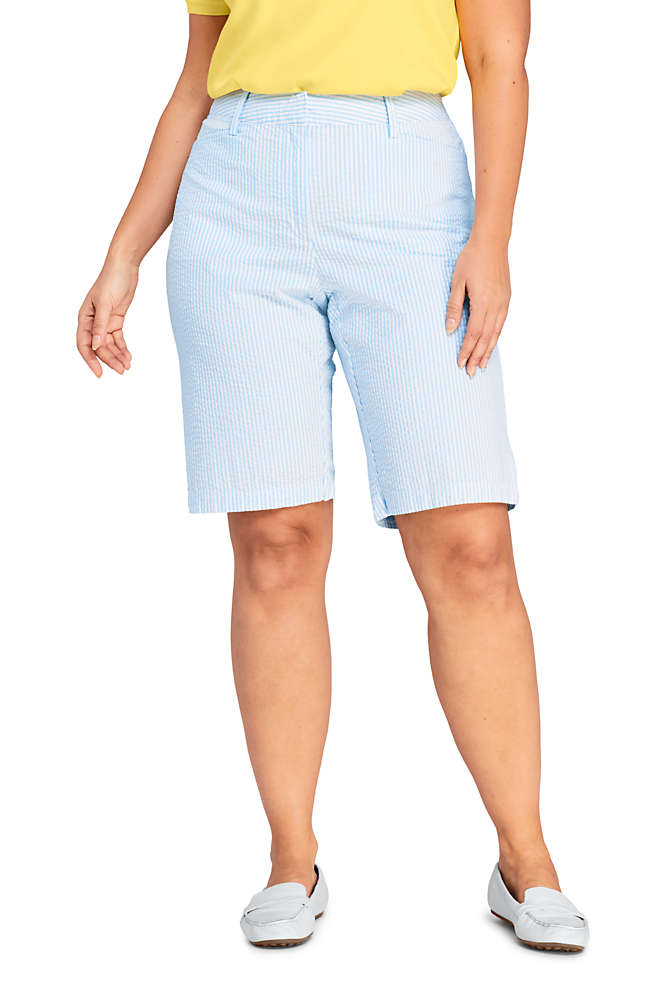 "Women's Plus Size Mid Rise 12"" Chino Seersucker Shorts, Front"