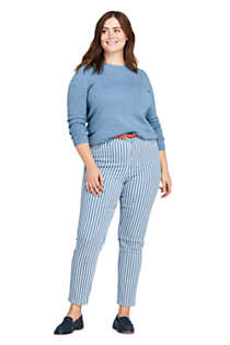 Women's Plus Size High Rise Slim Straight Ankle Stripe Jeans, Unknown