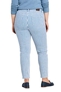 Women's Plus Size High Rise Slim Straight Ankle Stripe Jeans, Back