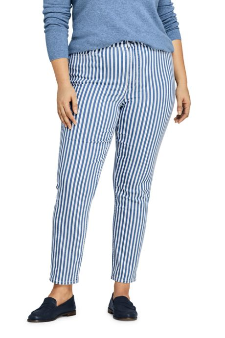 Women's Plus Size High Rise Slim Straight Ankle Stripe Jeans