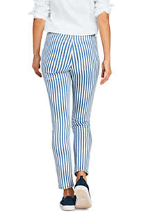Women's Petite High Rise Slim Straight Ankle Stripe Jeans, Back