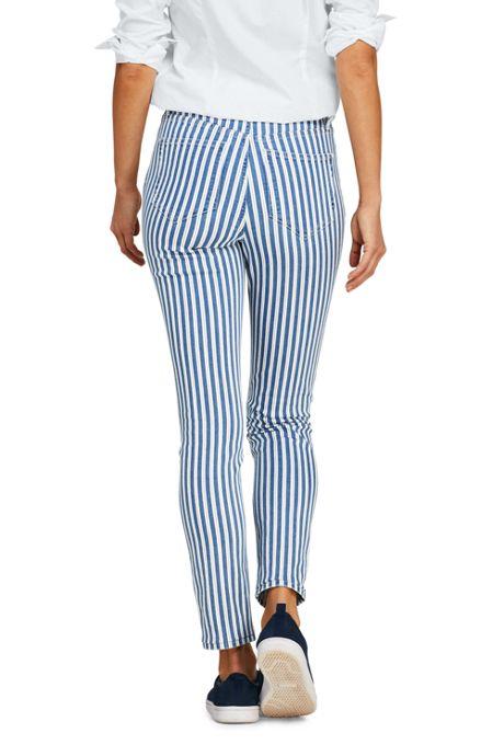 Women's High Rise Slim Straight Ankle Stripe Jeans