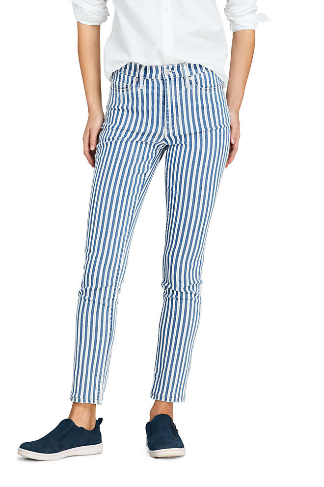 Women's Petite High Rise Slim Straight Ankle Stripe Jeans, Front