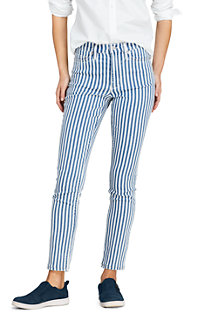 Women's High Waisted Slim Straight Ankle Jeans, Stripe