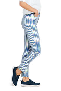 Women's Petite High Rise Slim Straight Ankle Stripe Jeans, Unknown