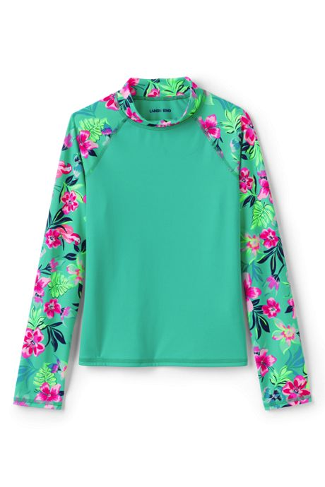 Girls Long Sleeve Pattern UPF 50 Sun Protection Rash Guard