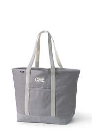 Extra Large Solid Color Open Top Long Handle Canvas Tote Bag