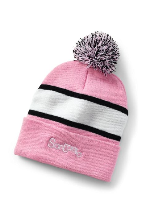 Striped Pom Pom Beanie With Cuff