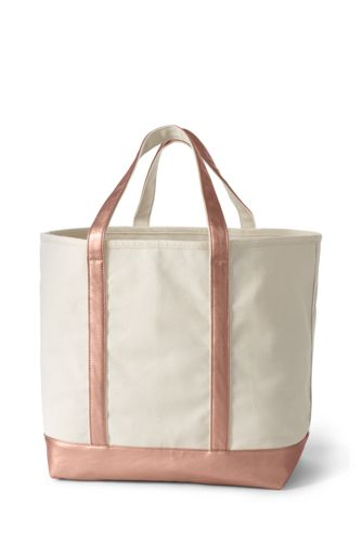 Extra Large Natural Metallic Open Top Canvas Tote Bag