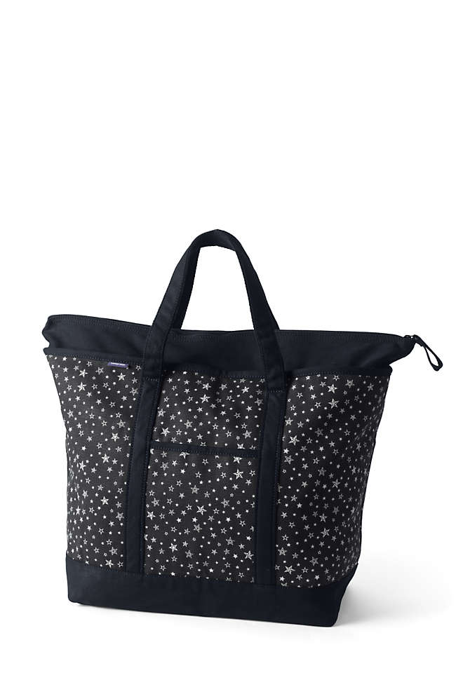 Extra Large Print Zip Top Canvas Tote Bag, Front
