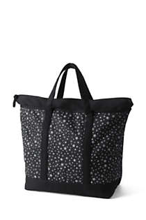 Extra Large Print Zip Top Canvas Tote Bag, Back