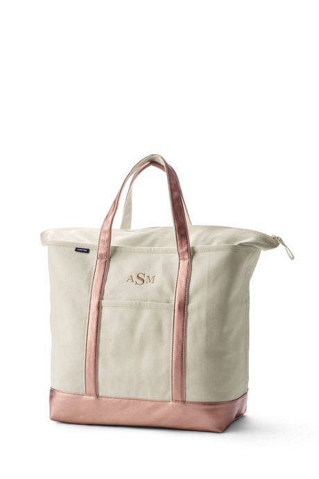 Extra Large Natural Rose Gold Zip Top Canvas Tote Bag