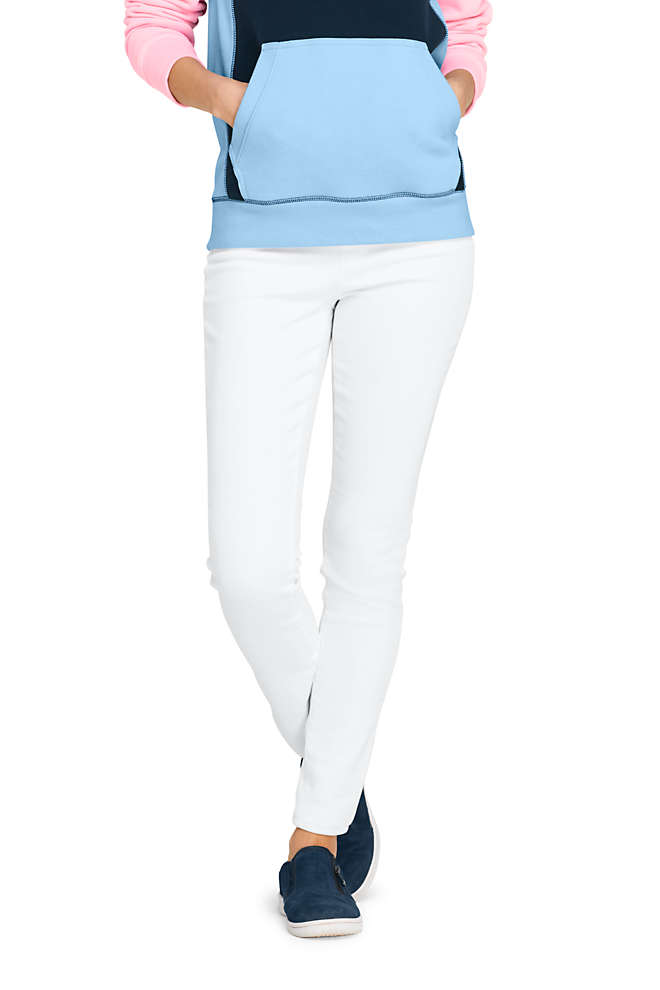 Women's High Rise Pull On Skinny White Jeans, Front