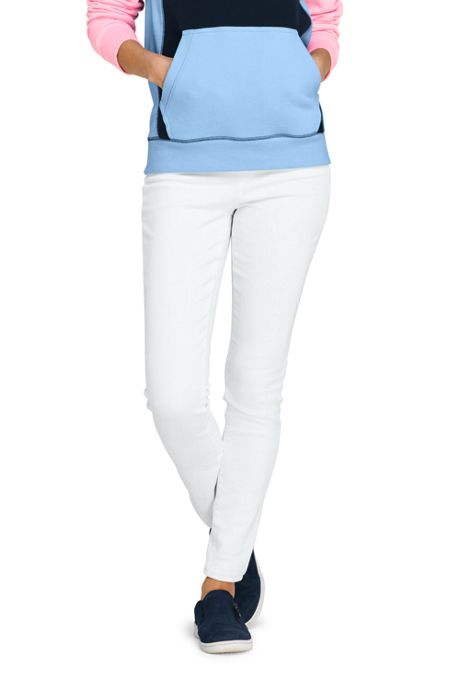 Women's High Rise Pull On Skinny White Jeans