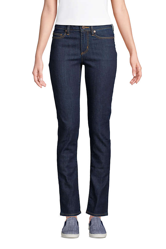 Women's Mid Rise Straight Leg Blue Jeans, Front