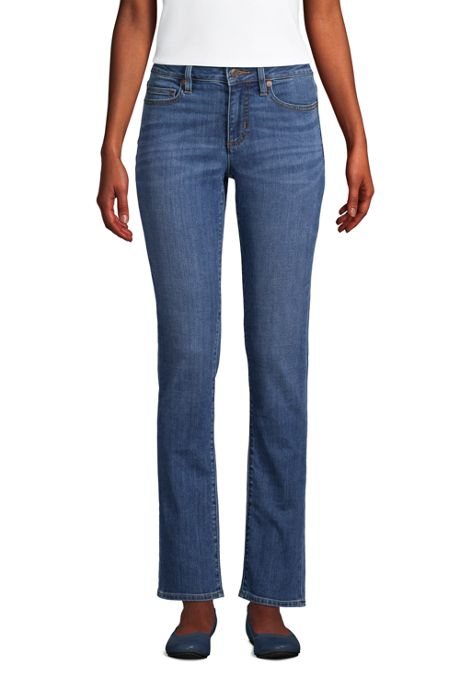 Women's Tall Mid Rise Straight Leg Blue Jeans